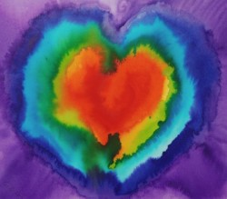 PIP - Personal independence Prayer by Bríd Wyldearth which shows an inky rainbow-coloured heart, the colours bleeding into each other.