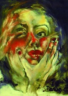 painting of a woman's head showing a hand clasped around the throat Swallow, By Danielle Hodson. © the artist