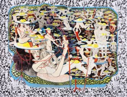 Marlene Steyn, Moony's Downside (with extra time she could have made side dishes), 2015. A painting that depicts dozens of naked figures conjoined together.