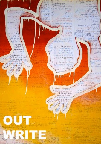 Out Write poetry anthology cover with outline of a body against a red and yellow background
