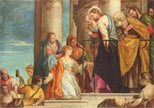 Illustration by Paolo Veronese of Jesus healing a woman with a flow of blood
