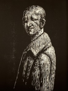 black and white woodcut of a man wearing a coat. He is seen looking at the viewer with a half smile on his face