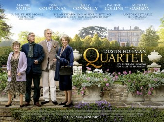 film poster shows the cast of quartet, lined up on a lawn outside a large country house