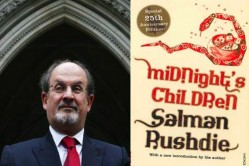 photo of the author Salman Rushdie, next to a cover of his award winning novel, Midnight's Children