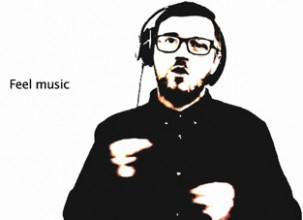 black and white digitised image of a young man wearing headphones with the caption 'feel music'