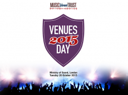 Venues Day 2015 flyer featuring the logo and crowd with their hands up at the bottom of the image
