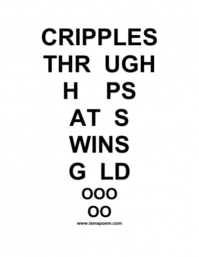 cripples though hoops - text in the form of an eye-test