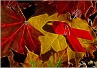 image of a series of autumn leaves with red ribbon
