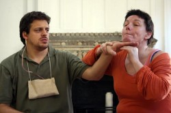 a male and female actor rehearsing for a play by Deafinitely Theatre