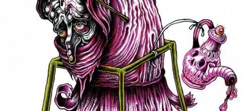purple tinted drawing inspired by a surreal character from the Bosch painting 'The temptation of St Anthony'