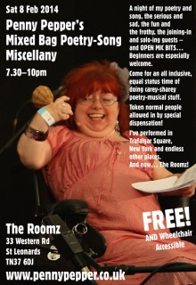 Flyer for Penny Pepper's event on Saturday February 8th.