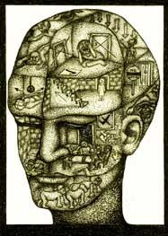 drawing of a head with figures inside