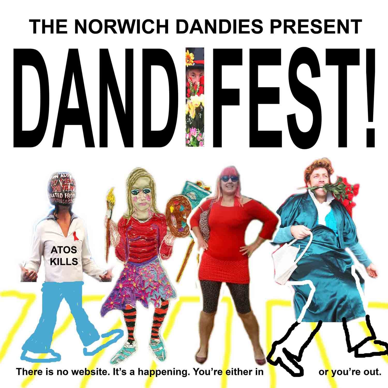 flyer showing four of the Norwich Dandies dressed up in their glad rags