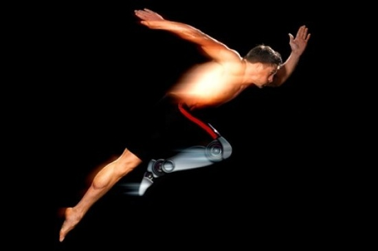 image of a sportsman in motion, against a black background