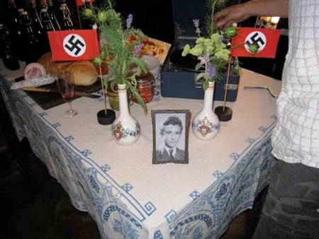 photo of table with nazi flags