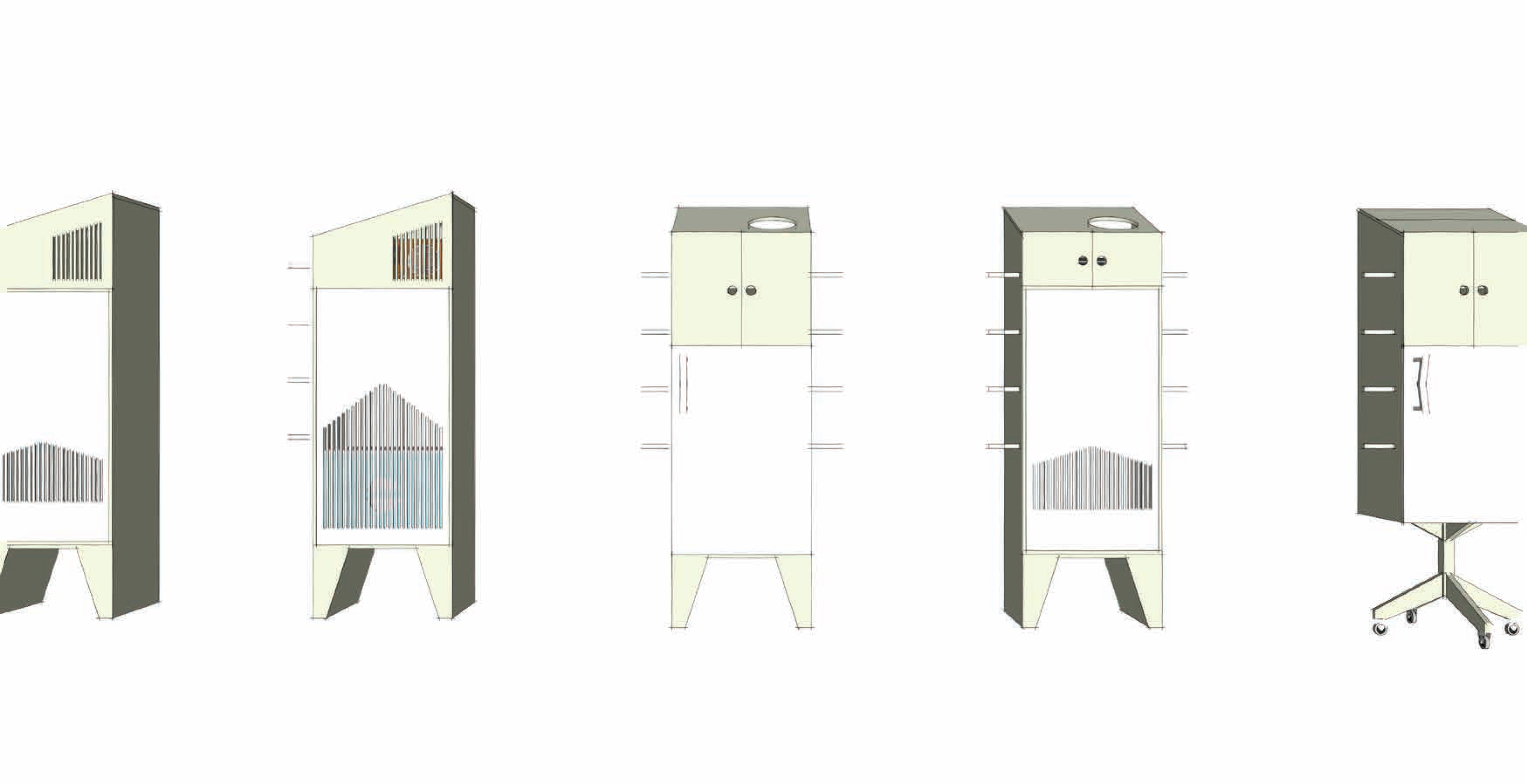 Cupboard design sketches, Ida Martin, 2015