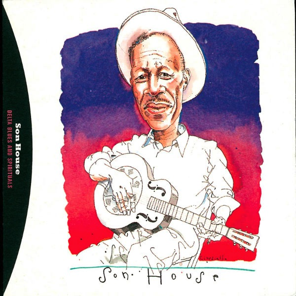 The cover of Son House's 1995 album Delta Blues and Spirituals bears a drawing of the musician with a guitar in hand